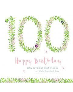 Happy Birthday - 100, with love and best wishes on this special day card