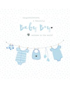 Cogratulations, a beautiful Baby Boy. Welcome to the world card