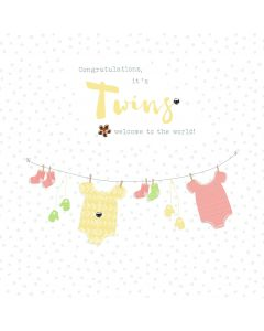 Congratulations, it's twins! Welcome to the world card