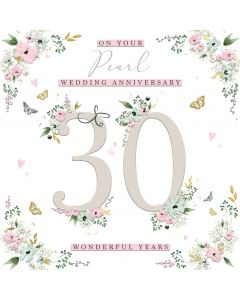 On your Pearl Wedding Anniversary 30 wonderful years Card