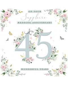 On your Sapphire Wedding Anniversary 45 wonderful years card