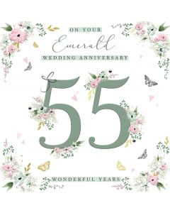 On your Emerald Wedding Anniversary 55 wonderful years card